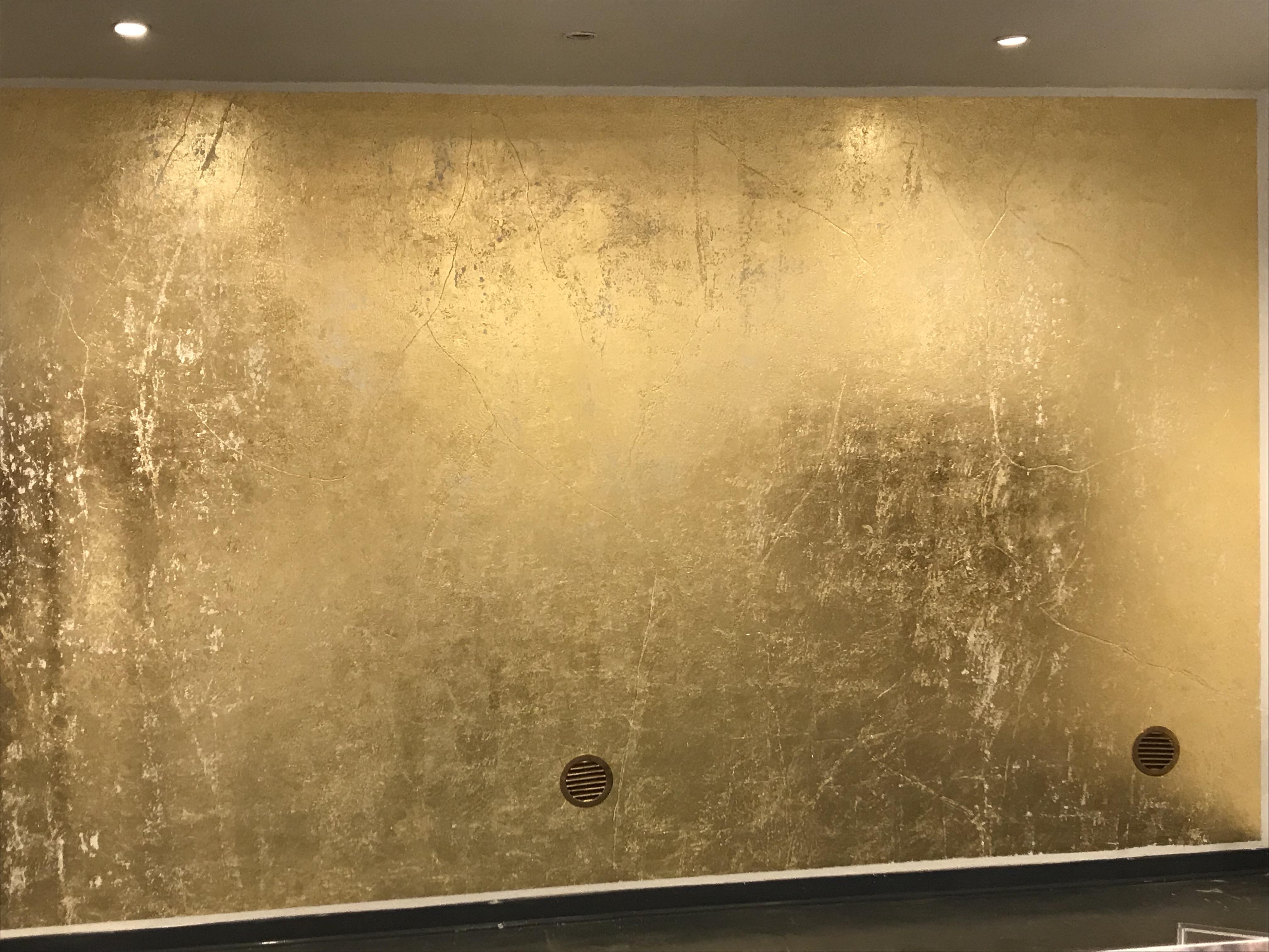Pareti Glitter Oro : Parete in foglia orou u ikigai l arte del colore e non solou